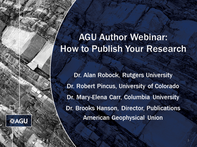 AGU Author Webinar: How to Publish Your Research