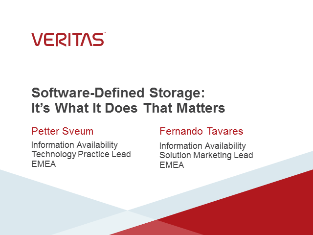 Software-Defined Storage: It's What It Does That Matters