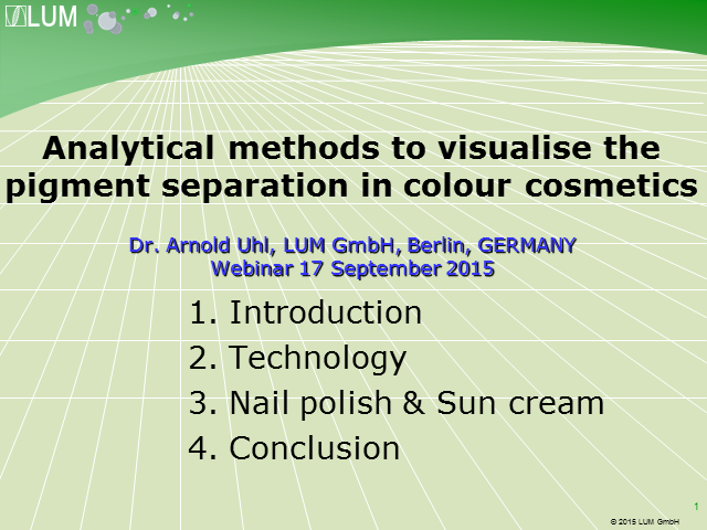 Analytical methods to visualise the pigment separation in colour cosmetics