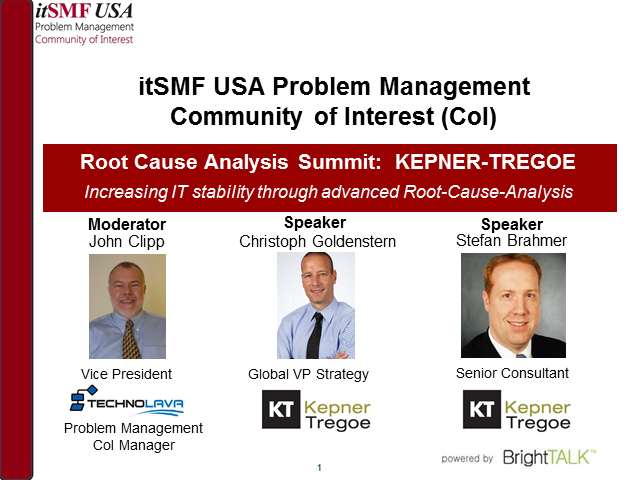 itSMF USA Problem Management CoI | Root Cause Analysis Summit - KEPNER-TREGOE