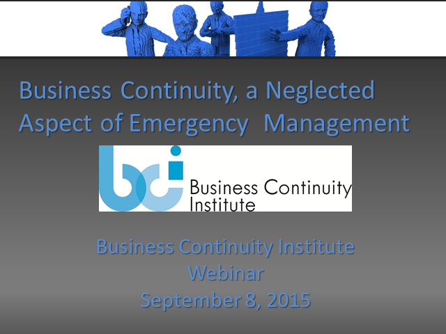 BCI webinar: Business continuity, a neglected aspect of emergency management