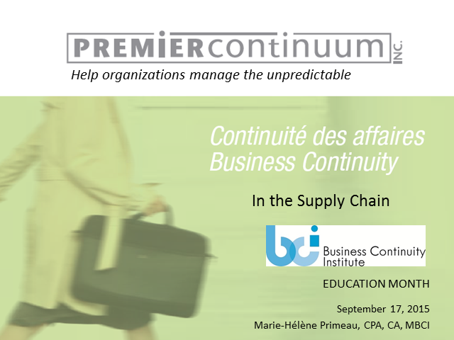 BCI webinar: Business continuity in the supply chain