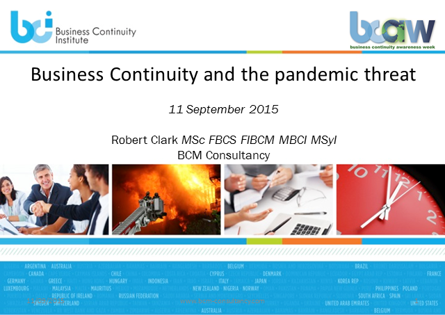 BCI webinar: Business continuity and the pandemic threat