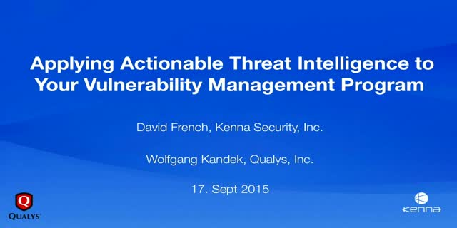 Applying Actionable Threat Intelligence to Your Vulnerability Management Program