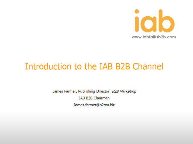 A warm welcome to the IAB talks B2B channel