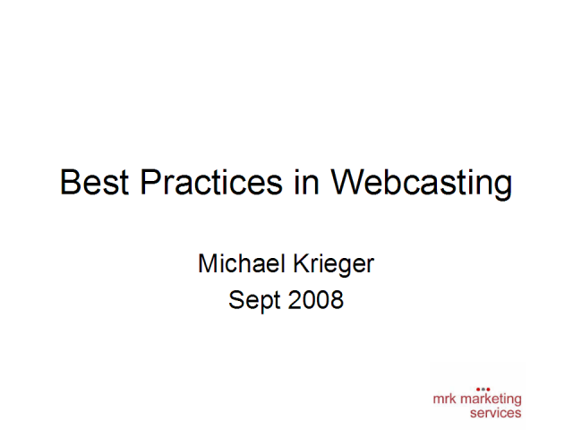 Best Practices in Webcasting
