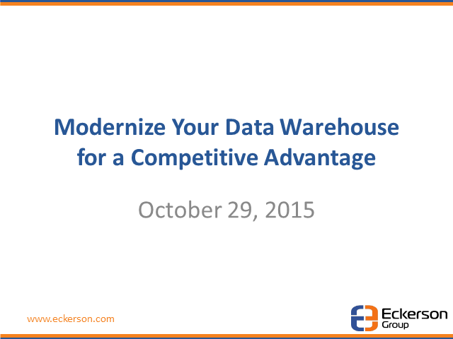 Modernize Your Data Warehouse for a Competitive Edge