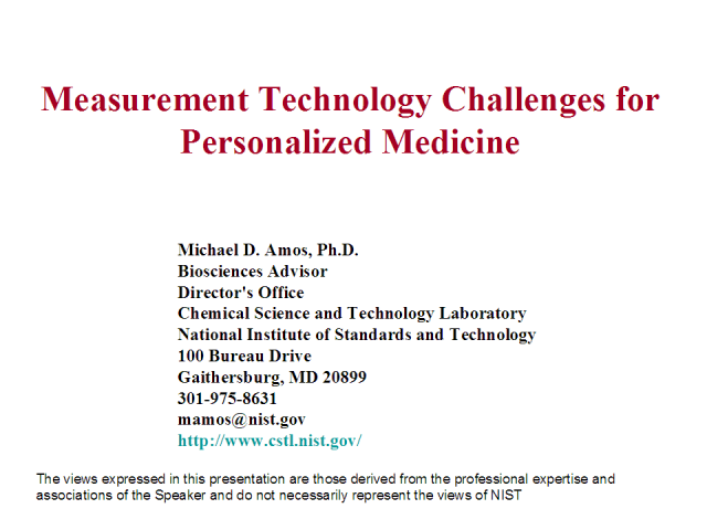 Measurement Technology Challenges for Personalized Medicine