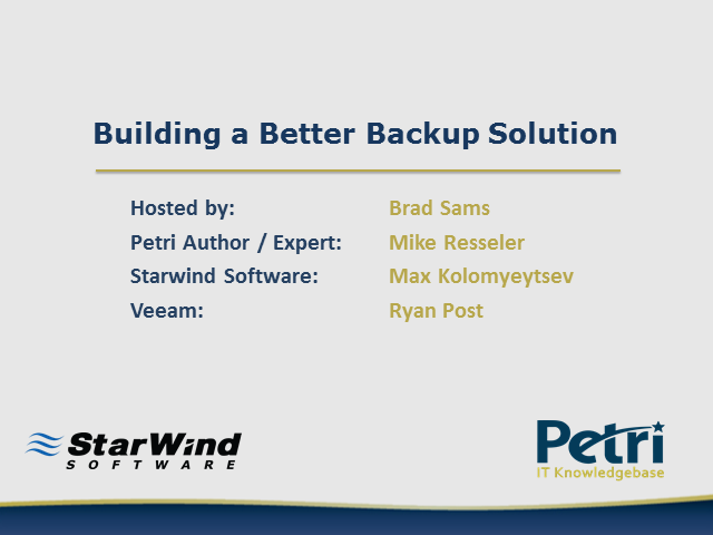 Building a better backup solution