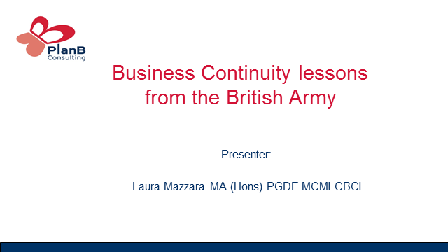 BCI Webinar: Business continuity lessons we can learn from the British Army
