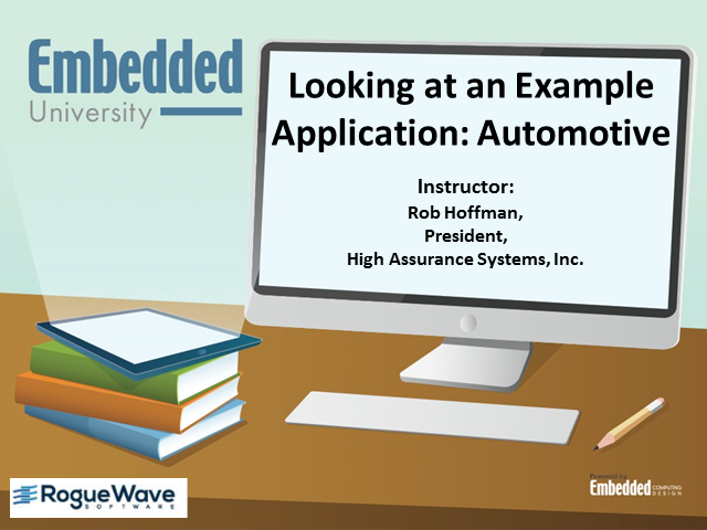 """Looking at an example application: automotive - Class 3 of """"Secure Code"""""""
