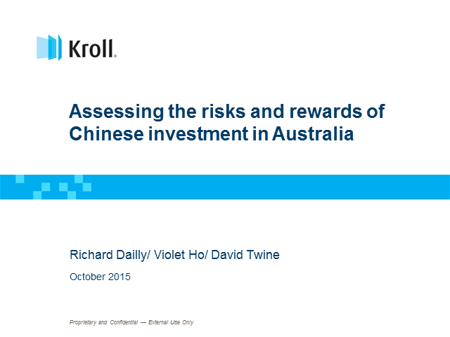Assessing the risks and rewards of Chinese investment in Australia