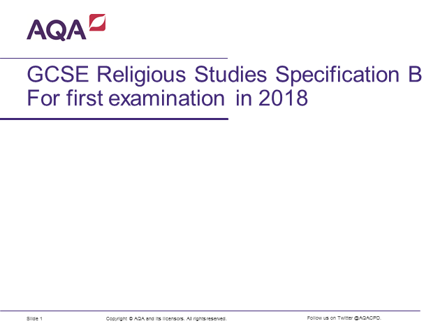 GCSE Religious Studies - new specification B launch
