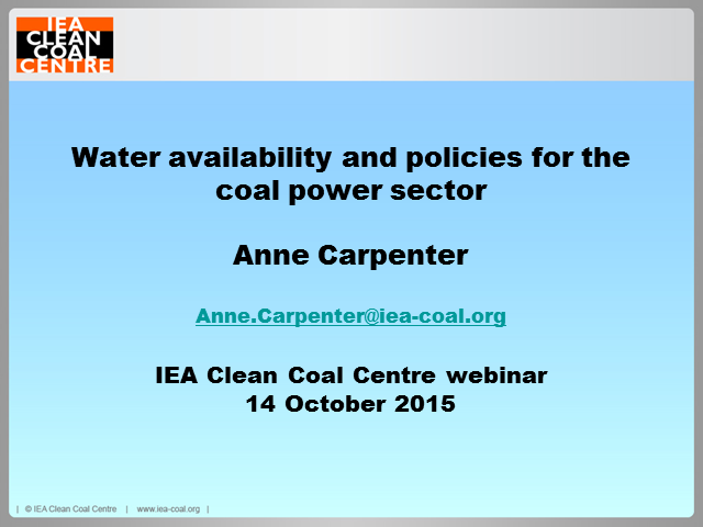 Water availability and policies for the coal power sector