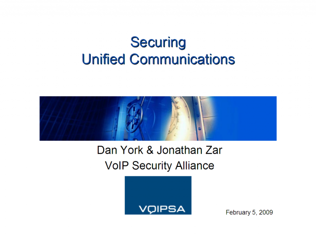 Securing Unified Communications