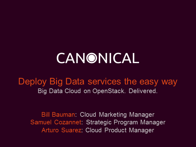 Deploy Big Data services the easy way