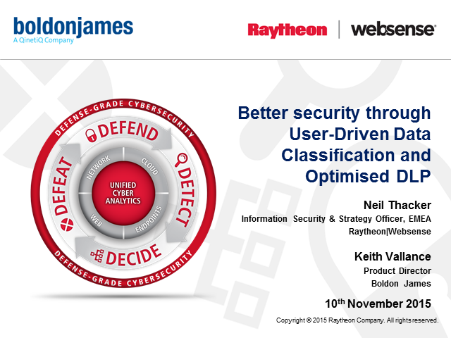 Better security through user-driven data classification and optimised DLP