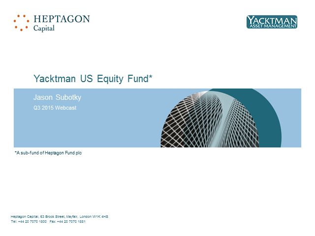 Yacktman US Equity Fund Q3 2015 Webcast