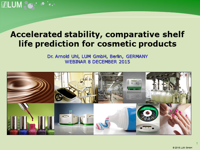 Accelerated stability, comparative shelf life prediction for cosmetic products