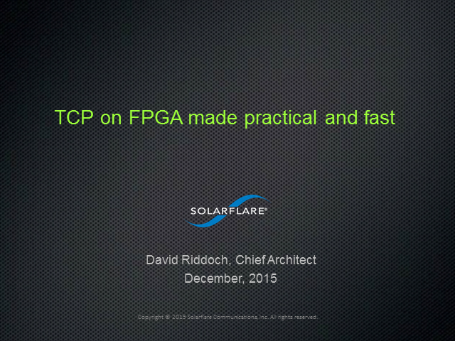 TCP on FPGA made practical and fast