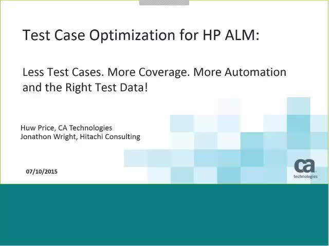 Test Case Optimization for HP ALM