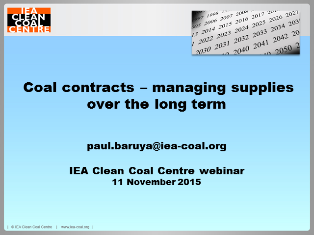 Coal contracts and long-term supplies
