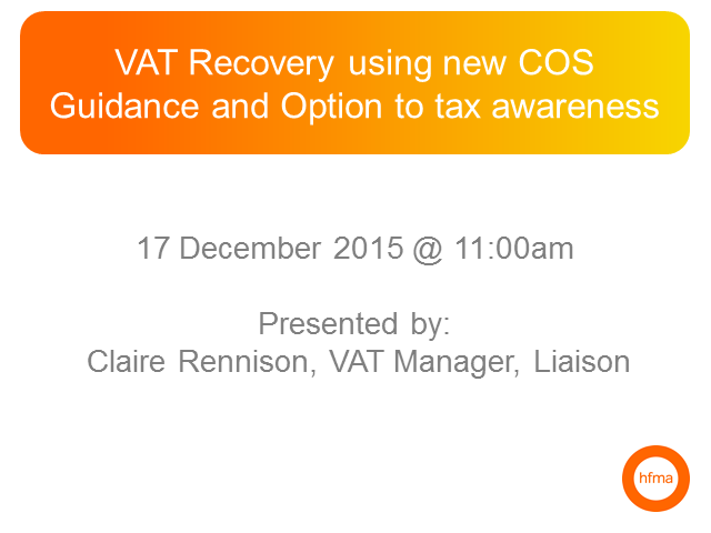 VAT Recovery using new COS Guidance and Option to tax awareness