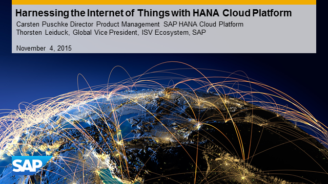 Business Opportunity Webinar: SAP HANA Cloud Platform for the Internet of Things