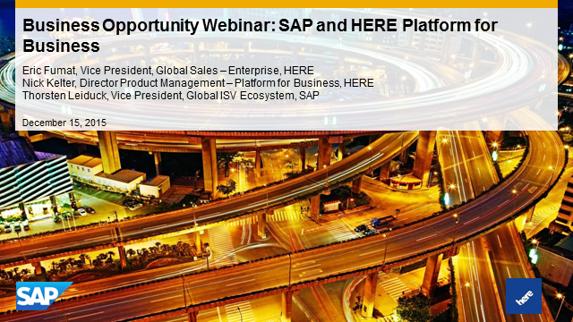 Business Opportunity Webinar: SAP and HERE Platform for Business