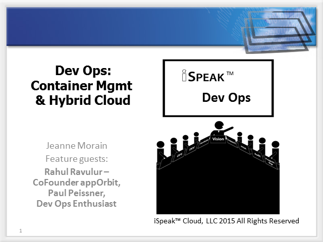 iSpeak(TM) DevOps: Container Management & Hybrid Cloud