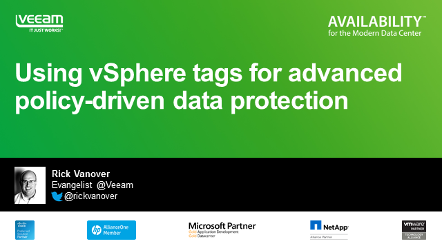 Using vSphere tags for advanced policy-driven data protection