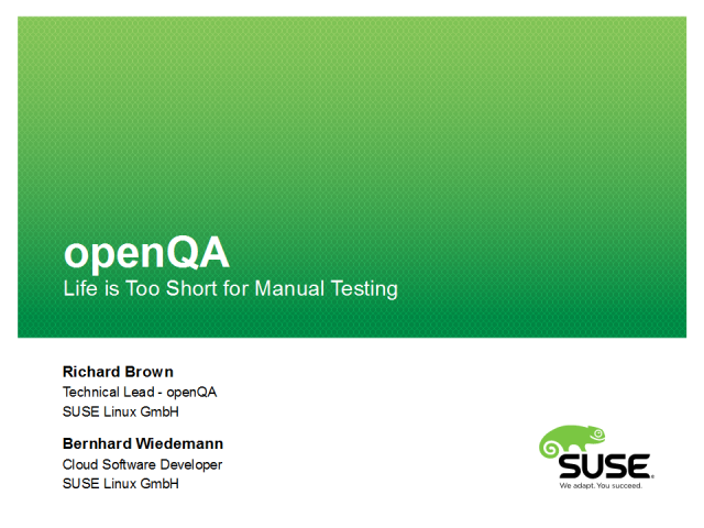 Automated software testing using openQA