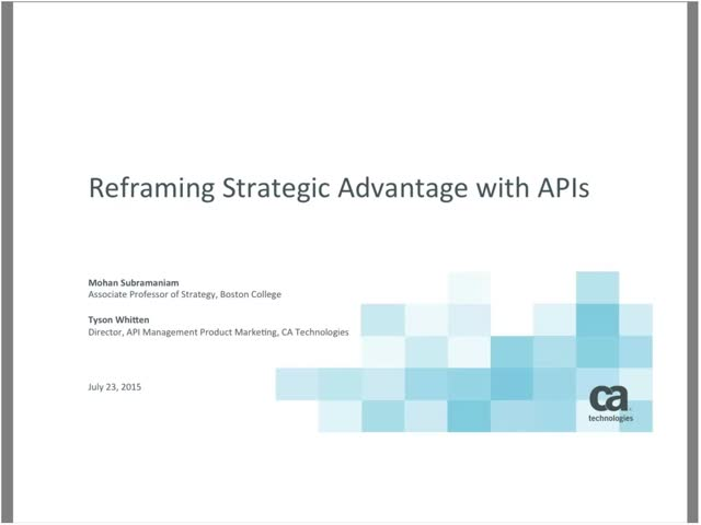 Reframing Strategic Advantage Through APIs