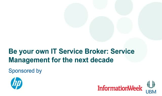 Be your own IT Service Broker: Service Management for the next decade