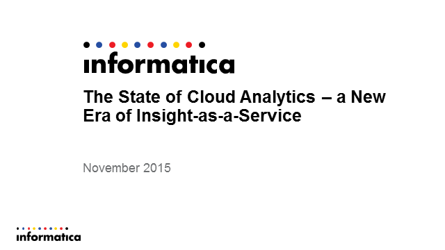 The State of Cloud Analytics – a New Era of Insight-as-a-Service