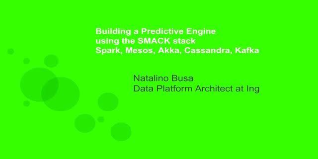 Building a Predictive Engine using SMACK (Spark, Mesos, Akka, Cassandra, Kafka)