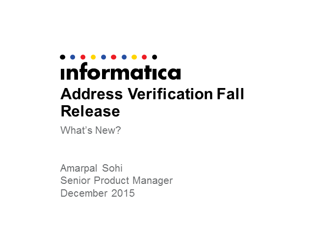 Address Verification Fall Release: What's new?