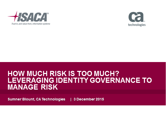 How Much Risk is Too Much? Leveraging Identity Governance to Manage Risk