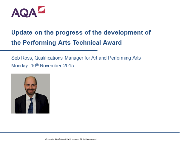 Performing Arts Technical Award Webinar