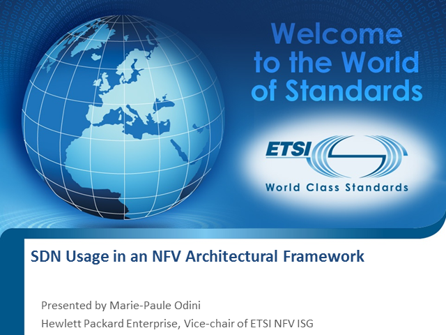 SDN Usage in an NFV Architectural Framework
