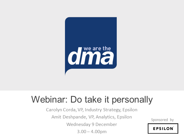 Webinar: Do take it personally