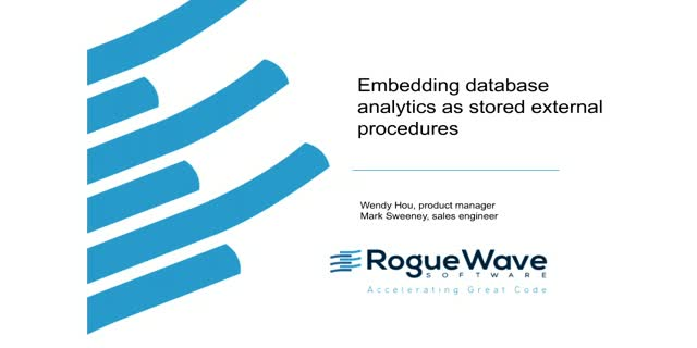 Embedding database analytics as stored external procedures
