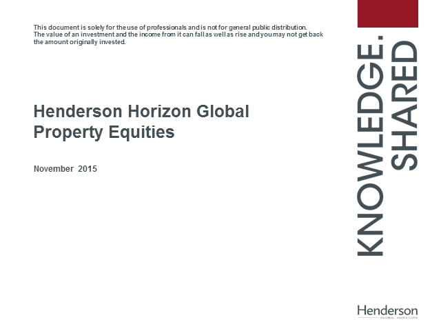 Henderson Horizon Global Property Equities Fund Update