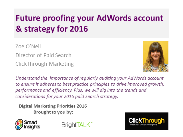 Future proofing your AdWords account & strategy for 2016