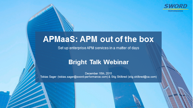 APMaaS / APM out of the box: set up enterprise APM services in a matter of days