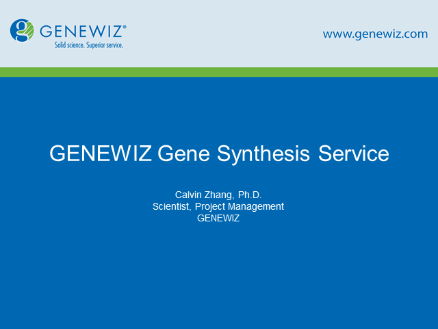 Gene Synthesis as an Alternative to Molecular Cloning Session 2