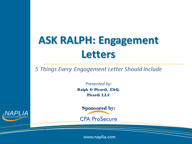 Ask Ralph: 5 Things Every Engagement Letter Needs