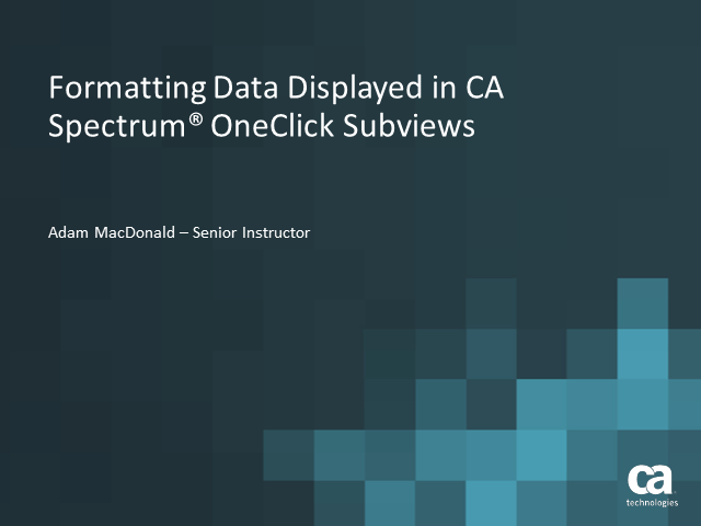 Formatting Data Displayed in CA Spectrum® OneClick Subviews