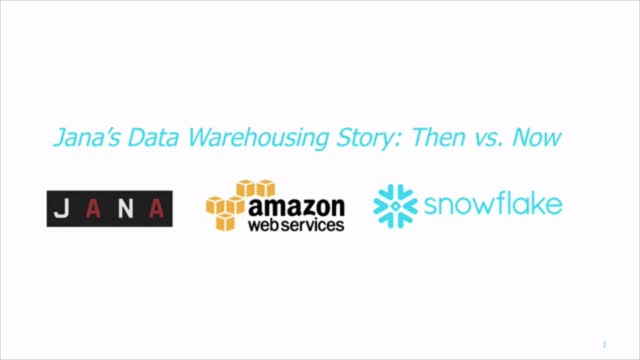 Jana's Data Warehousing Story: Then vs. Now