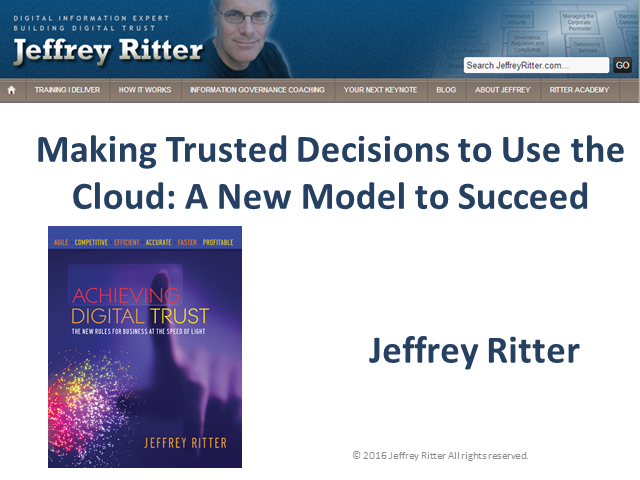 Making Trusted Decisions to Use the Cloud: A New Model to Succeed